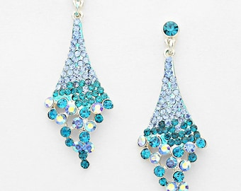 Hope Crystal Earrings Silver Tone Rich Sea Blue Green Sparkle Drop Earrings Holiday Party Silk Road Jewelry