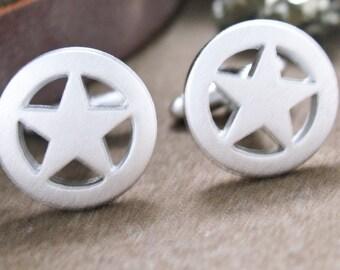 Lone Star Cufflinks Silver Matte Tone Cuff Links