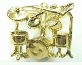 Drum Kit Cufflinks Gold Rock and Roll Drummer Musician Rock Band Cuff Links