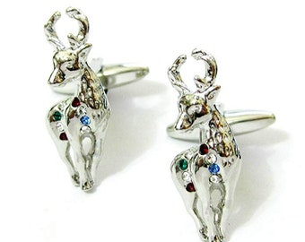 Reindeer Cufflinks Silver Colorful Crystals Very Merry Christmas Reindeer Caribou Cuff Links Rudolph Holiday Cuff Links Comes with Gift Box