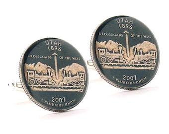 Enamel Cufflinks Hand Painted Utah Suit Flag State Enamel Coin Jewelry USA United States America Train Railroad Salt Lake City SLC Mormon