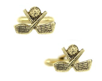 Gold Tone Master Of The Game Golf Clubs And Ball Cuff Links Cufflinks
