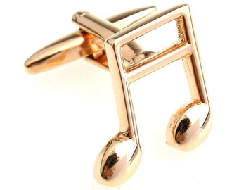 Gold Music Note Sixteenth Notes Music Piano Orchestra Conductor Cufflinks Cuff Links