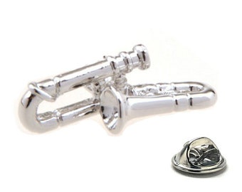 Silver Trombone Lapel Pin Band Fans Enamel Pin Jazz Band Music Players Tie Tack Conductors Cool