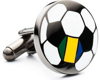 Soccer Ball Cufflinks Brazil Flag on the Soccer Ball Pride for your Team Soccer Football Sports Cuff Links or Choose Enamel Pin Tie Tack