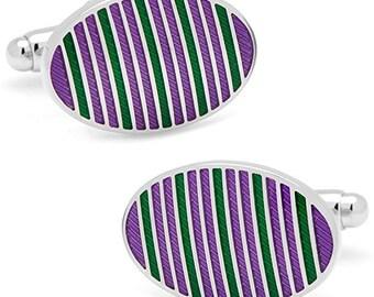 Mississippi Purple and Green Oval Repp Stripes Cufflinks Formal Stripe Cuff Links