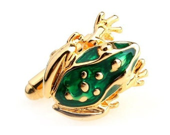 Frog Cufflinks Gold with Green Enamel Frog Prince Cufflinks Cuff Links Animals Animal