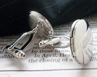 Locket Cufflinks Silver Tone Round Classic Cuff Links