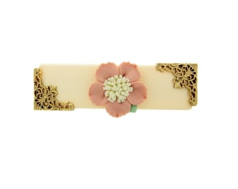 Ivory with Pink & White Porcelain Flower Barrette, Hair Accessories