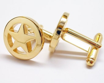 Gold Lone Star Cufflinks Law Enforcement Sheriff Badge Cuff Links Gifts for Dad