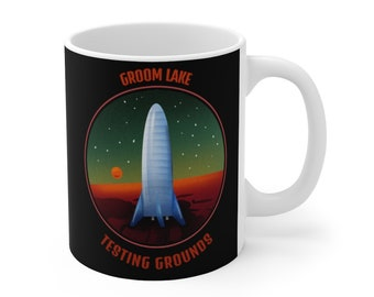 Groom Lake Coffee Mug 11oz Fun Space Graphics Ceramic Cup Spaceship Rocket Ship Rocketman