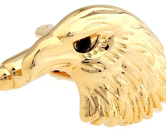 Mens Executive Cufflinks Gold Tone Regal American Bald Eagle Bird Head Cuff Links Comes with Box