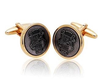 Harp Music Collection Cufflinks Gold and Black Loverly Harpist Harp Music Bullet Post Cuff Links Comes with Gift Box