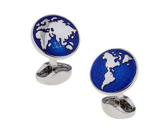Globe Cufflinks Blue Round Enamel Around the World Sailing Traveler High Detail Cuffs Cuff Links Straight Solid Post Heavy Duty High Quality