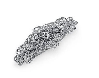 Silver Big Crystal Filigree Bar Barrette, Hair Accessories