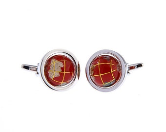 Mens Executive Cufflinks Rotating Red Enamel Travel the World with Me Earth Globe Cuff Links