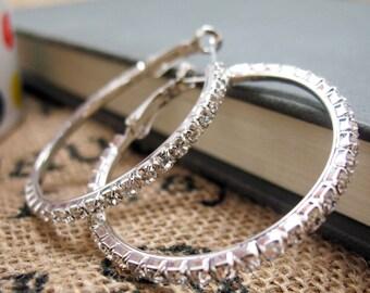 Sparkling Gem Hoop Earrings Silver Tone White Crystals Hoop Earrings Silk Road Jewelry