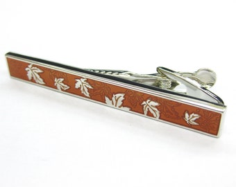 Seasons Collection Leaf Autumn Rust Copper Leaves in the Fall Tie Clip Tie Bar Silver Tone Very Cool Comes with Gift Box