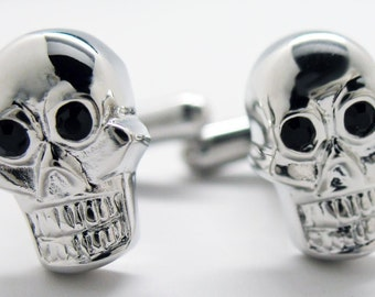 Dying to Be Rich Silver Skull with Souless Black Eyes Cufflinks Cuff Links