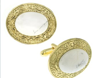 Embossed Oval Cufflinks Gold Tone White Howlite Cuff Links