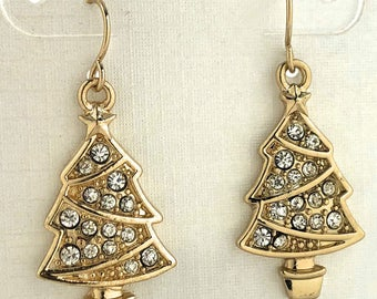Gold Christmas Tree Earrings Sparkling Crystal Holiday Big Body Gold Tone Crystals Drop Dangle Earrings Christmas Gift Party Jewelry