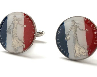 French Hand Painted Coin Cufflinks, Red White and Blue France Flag Colors