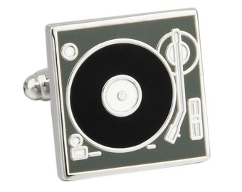 Old-school Turn Table DJ Record Player Cufflinks Cuff Links Turntable Comes with Gift Box