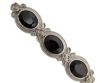 Silver Black Stones Oval Barrette, Hair Accessories