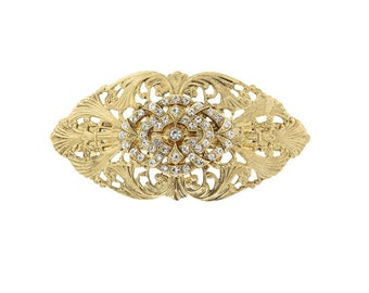 Gold Crystal Filigree Hair Barrette, Hair Accessories