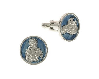 Holy Mother and Child Silver and Blue Enamel Backgound Cufflinks Religious Collection Faith Cuff Links