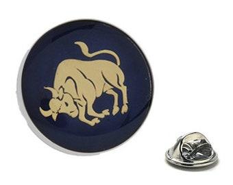 Taurus Zodiac Enamel Pin Astrology Gifts, Blue Lapel Pin