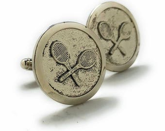 Professional Tennis Racket Cufflinks 3D Design Very Cool Unique Round Cuff Links Comes with Gift Box