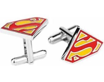 Superman Cufflinks Enamel Super Hero Superman Show Off Your Hero Super Man Superhero DC Comics Cool Fun Collector Comes with Gift Box
