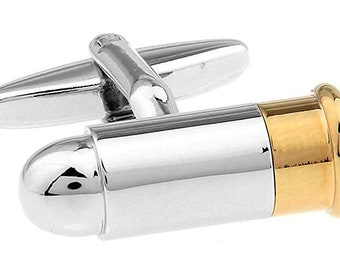 Mens Executive Cufflinks Military Collection Silver and Gold Tone Beveled End Gun Bullet Cuff Links