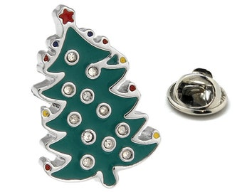 Christmas Tree Enamel Pin Christmas Lapel Pin Silver Green Enamel with Crystals Tie Tack Collector Pin Christmas Time holiday Gift Box