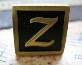 Z Initial Cufflinks Antique Brass Square 3-D Letter Z Vintage English Letterings Cuff Links Groom Father Bride Wedding Anniversary Gift Box