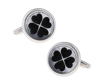 Four Hearts Cufflinks Silver Tone Black Enamel High Finish Cool Fun Bullet Backing Cuff Links Comes with a Gift Box