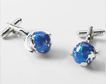 Rotating SIlver and Blue Globe Cufflinks 3D Design Cool Fun Traveler Vacation Pilot Cuff Links Comes with Gift Box