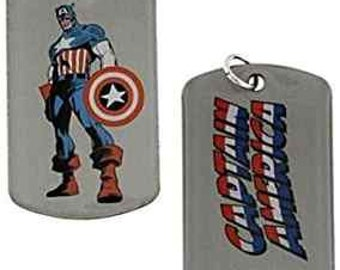 Dog Tag Marvel Comics Captain America Stand and Fight Double Sided Dog Tag 1942 vintage jewelry w chain