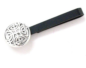 Celtic Cross Tie Bar Clip Norse Swirl Suit England Knight Medieval Viking Black Tiebar Tieclip  Very Cool Comes with Gift Box