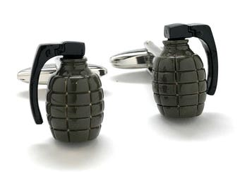 Khaki Hand Grenade Cufflinks 3D Army Green Jewelry Fun Cool Unique Clever Cuff Links Comes with Gift Box