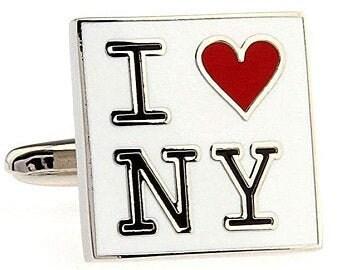Heart New York Cufflinks Enamel I Love New York NY Cuff Links