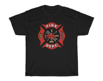 Fire Dept. T Shirt Fireman Shield Tee Shirt Unisex Heavy Cotton Tee Firefighter T-shirt
