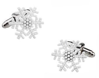 Sun Valley White Snowflake Cufflinks Ice Snow Flake Cuff Links
