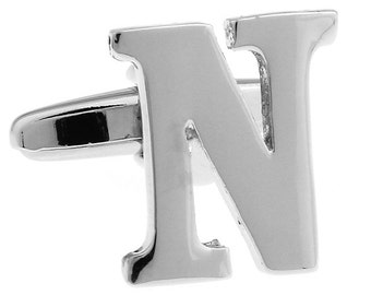 "Classic ""N"" Cufflinks Silver Tone Initial Alaphabet Cut Letters N Cuff Links Groom Father Bride Wedding Anniversary Father's Day Gift Box"