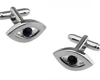 The Third Eye Cufflinks Mind's Eye  Inner Eye Silver Black Crystal Cuff Links Brings Good Luck to Those that Wear Them