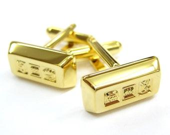 Gold Plated Bullion Bar Financial Rich Fort Knox Cufflinks Cuff Links