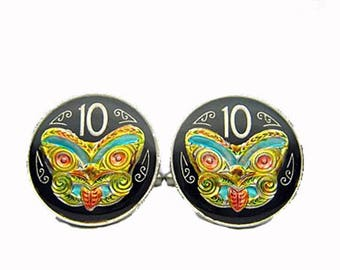 Enamel Cufflinks Hand Painted New Zealand Enamel Coin Jewelry Black and Color Enamel Cuff Links Comes with Gift Box