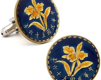 Enamel Cufflinks Hand Painted Taiwan Enamel Coin Jewelry Blue Flower Nature Asia Coins Cuff Links Keepsake Very Cool Unique World Gift Box