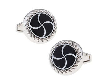 Vortex Wave Design Cufflinks Silver Tone Black Enamel Whale Tail Backing Cuff Links Comes with Box